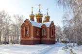 Orthodox Church in a snowy field — Zdjęcie stockowe