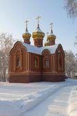 Ortodoks Kilisesi bir karlı alanda — Stok fotoğraf