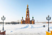 Monastery in Siberian Achaire. bell tower — Stock Photo