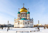 Main Cathedral in Omsk winter — Stock Photo