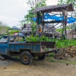 Stock Photo: Old car SUV with body amid jungle in Thai countryside