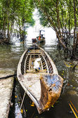 Traditional Thai boat in the mangroves to the sea in the Thai — Stock Photo