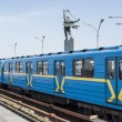 Subway train arrives at the metro station open Dnieper (Dnipro). Kiev — Stock Photo