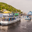 Pleasure boats moored on the River Dnieper in Kiev. — Stock Photo
