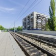 Separate tram lines and metro route number 1 Kiev Light Rail — Stock Photo