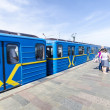 The train arrives at the open tube station Dnieper (Dnipro). Kiev — Stock Photo