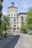 Old houses, streets and squares in the center of Kiev. — Stock Photo