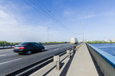 Bridge to subway and car in Kiev — Stock Photo