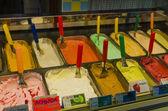 Italian ice cream on display at the store — Stock Photo