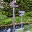 Pointer to the tourist trail in the Alpine town of the Italian Ponte di Legno — Stock Photo