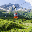 ski lift on a cable ropeway in the italian alps — Stock Photo