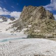 Concealing the glaciers on top of the Alps in the summer. Ski resort of Passo Di Tonalle. Northern Italy — Stock Photo