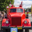 Постер, плакат: Retro cars Soviet vintage freight cars of 50 years for urban emergency services in Moscow