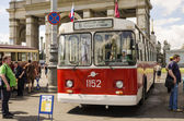 Old Soviet trolleybus at the exhibition of rare transport in Moscow — Stock Photo