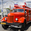 Old Soviet fire truck at the exhibition of rare transport in Moscow — Stock Photo