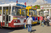 Viejo trolebús soviético en la exposición de transporte rara en moscú — Foto de Stock