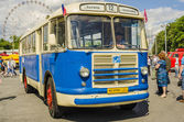 Old Soviet bus at the exhibition of rare transport in Moscow — Stock Photo