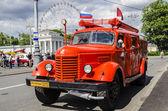 Eski sovyetler yangın kamyon nadir taşıma moskova fuarında — Stockfoto