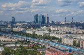 Top view of the streets and squares of Moscow from the top of a block of flats on the Sparrow Hills. Tourist panorama — ストック写真