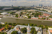 Top view of the streets and squares of Moscow from the top of a block of flats on the Sparrow Hills. Tourist panorama — Stockfoto