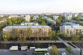 View of the residential areas and the streets of Moscow in the spring at sunset — Stock Photo