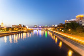 View of the Moscow River and the historic city center late at night — Stock Photo