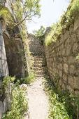 Amurallada ciudad de San Juan en la ciudad de kotor. paredes de la ciudad en las montañas y subiendo las escaleras. las ruinas de la vieja pared — Foto de Stock