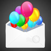 Open envelope with multicolored balloons. — Vetor de Stock