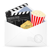 Open envelope with movie clapper board. — Stock Vector