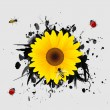 Royalty-Free Stock Vector Image: Sunflower on black background.