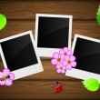 Photo frame on wooden background with flowers, bee, ladybird and leaves. — Image vectorielle