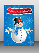 Christmas Greeting Card with snowman. — Stock Vector