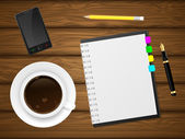 Coffee cap, phone and notebook on wooden background. — Stockvector
