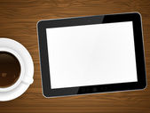 Coffee cup and tablet pc on wooden background — Vector de stock