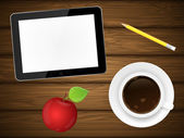 Coffee cup, red apple and tablet pc on wooden background. — Stock Vector