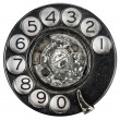 Close up of Vintage phone dial on white — Stock Photo