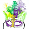 Colorful Mardi Gras mask with feathers isolated on white - Stock Photo