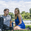 Girl and boy in the park — Stock fotografie