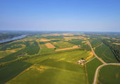 Aerial view of farm fields and trees in mid-west Missouri early morning — Stok fotoğraf