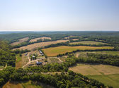 Aerial view of farm fields and trees in mid-west Missouri early morning — Stock fotografie