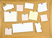 Cork bulletin board with blank notes. — Stock Photo