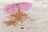 Star fish under umbrella on the beach — Stock Photo