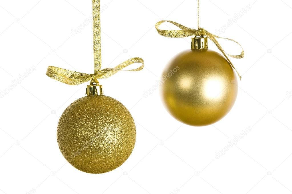 Golden Christmas decorations isolated on white  Stock Photo #14759733