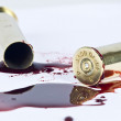 Blood and crime scene concept on white — Stock Photo