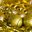 Golden Christmas decorations — Stok fotoğraf