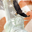 American Flag, flying bald Eagle,statue of liberty and Constitution montage — Stock Photo #14762759
