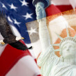 图库照片: AmericFlag, flying bald Eagle,statue of liberty and Constitution montage