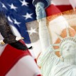 Stockfoto: AmericFlag, flying bald Eagle,statue of liberty and Constitution montage