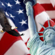 Stock Photo: AmericFlag, flying bald Eagle,statue of liberty and Constitution montage