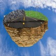 Floating island with road between city life and green life concept — Stock fotografie